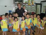 Mimi helped teach an English lesson at Josh's preschool