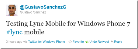 Twitter  @GustavoSanchezG Testing Lync Mobile for Wi ..