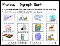 Let students sort pictures by the digraphs they start with.