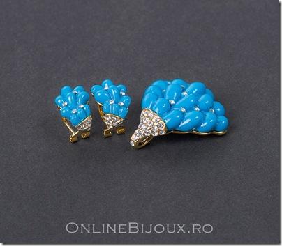 bijuterii placate cu auer set compus din cercei si pandantiv