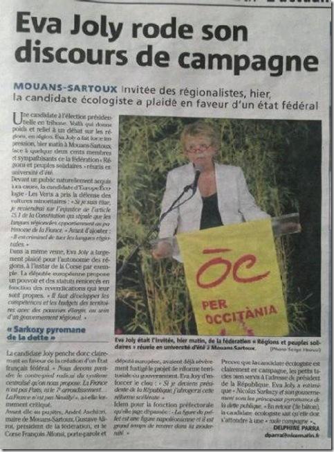 Eva Joly en Occitània Nice Matin