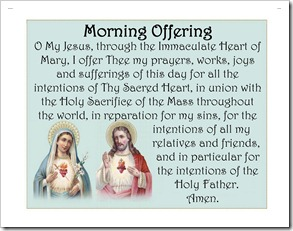 Immaculate Heart of Mary & Sacred Heart of Jesus with blue - Morning Offering Pillow Case image