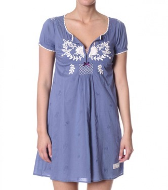 #327a light cotton embroidered dress washed indigo