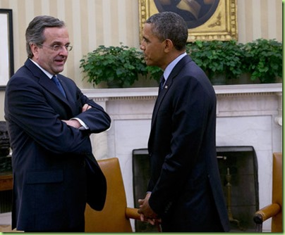 bo U.S. President Barack Obama (R) meets with Prime Minister Antonis Samaras (L) of Greece