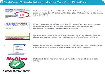 McAfee SiteAdvisor firefox