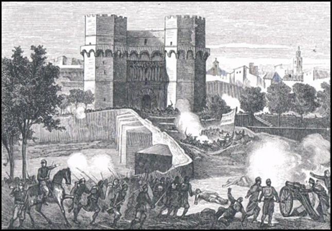 La gloriosa ante el puente de Serranos.-1869