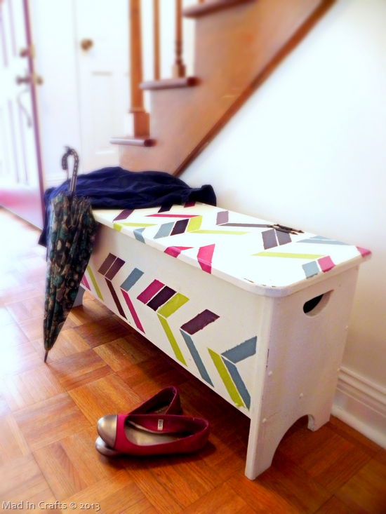 herringbone stenciled storage bench