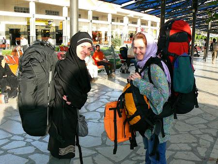 Shiraz bus terminal - European backpackers in Iran