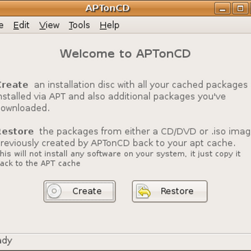 APTonCD is a tool that can back up software packages (.deb files) downloaded via Advanced Packaging Tool (APT).
