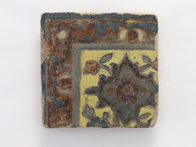 Corner piece tile | Origin:  Iran | Period: 17th century  Qajar period | Details:  Not Available | Type: Cuerda seco earthenware | Size: H: 16.9  W: 16.7   D: 2.8  cm | Museum Code: F1908.76 | Photograph and description taken from Freer and the Sackler (Smithsonian) Museums.