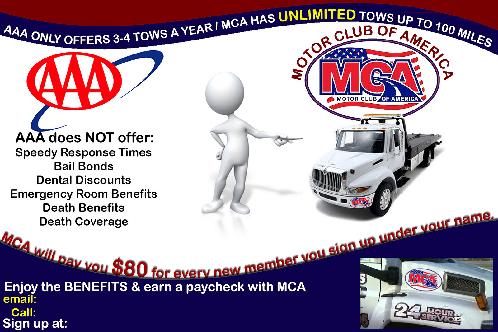 Work at home opportunity mca vs aaa for American traveler motor club