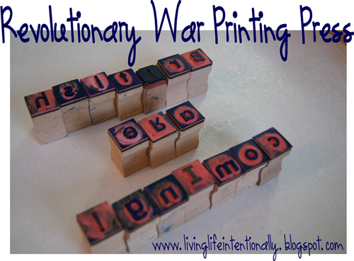 Revolutionary War Printing Press -History Project for Homeschoolers