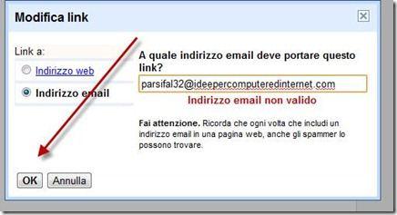 collegare immagine a un indirizzo email