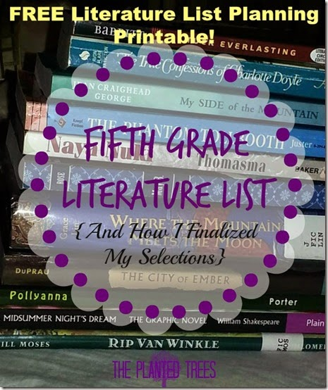 Fifth Grade Literature List