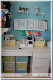 Desk area with plastic storage drawers after {A Sprinkle of This . . . . A Dash of That}
