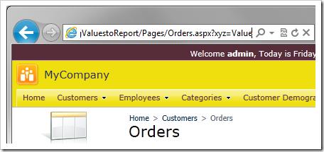 Entering an 'xyz' URL parameter into the URL bar of the browser.