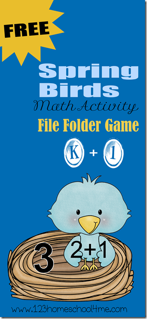 FREE Printable Spring Birds Math File Folder Game for Kindergarten & 1st Grade Homeschoolers