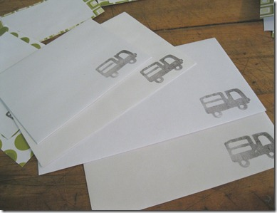 DIY Thank You Cards made with Foam Stamps of Trucks