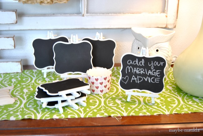 Bridal shower party game--have everyone jot down their best piece of marriage advice and photograph them holding it. Then print the pictures and give them to the bride as a favor gift, so she can remember all her guests and what advice they offered to her before her wedding day!