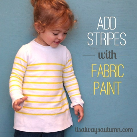 add stripes to sweater with fabric paint