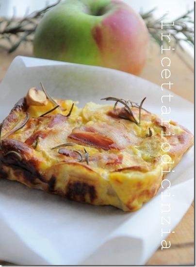 frittata al forno con le mele, la ricotta il bacon e il rosmarino