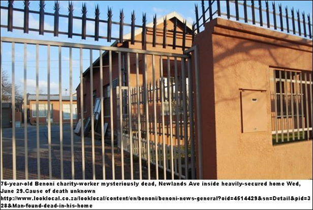 BENONI WHITE CHARITY WORKER DIES MYSTERIOUSLY NEWLANDS AVE HOME JUN302011