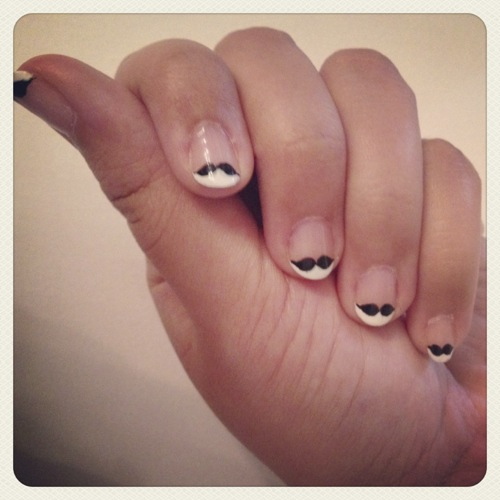 Adorable mustache nails