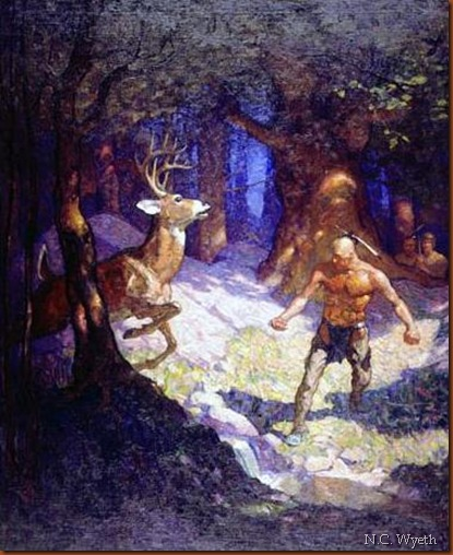 N.C. Wyeth. Uncas slays a deer. 1919