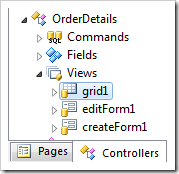 'Grid1' view of OrderDetails controller in Project Explorer.