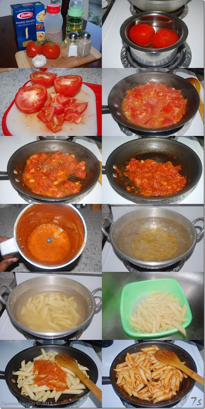 Penne pasta with tomato sauce process