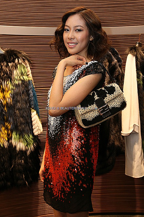 OLIVIA ONG FENDI Baguette Paglia Fall Winter 2012 2013 Pre-Fall Collection black white orange red sequins geometric shaped cap sleeve dress FENDI leather cuff fur trim collar necklace accessories platform wedges shoe 