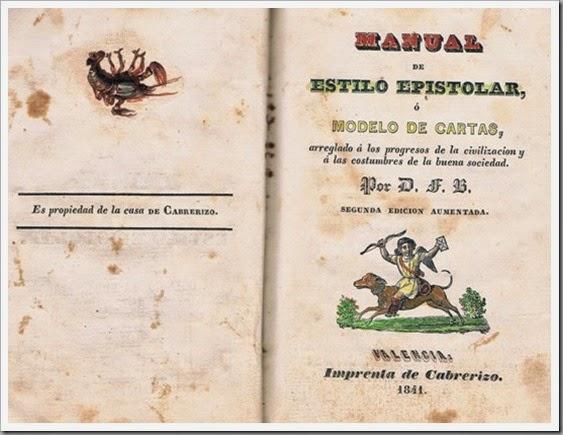 Portada del Manual Epistolar, de Cabrerizo. 1841