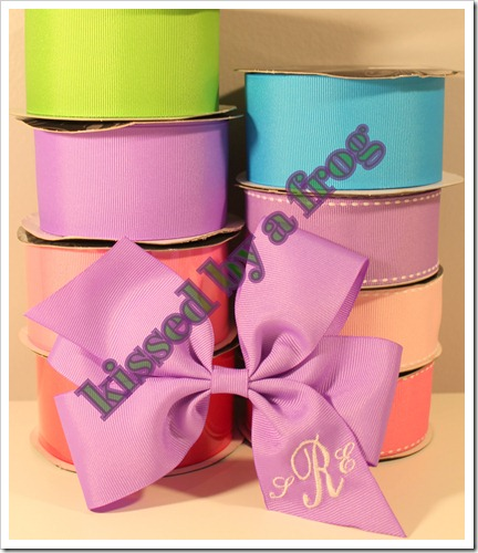 kissed by a frog monogram bow clip spring colors