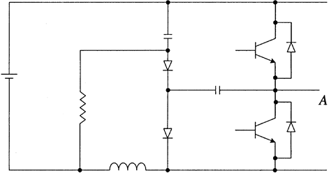 An inverter leg with the improved dissipative snubber circuit