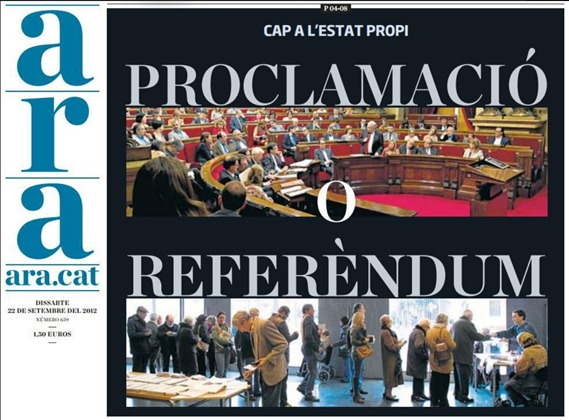portada ARA dissabte 22 de setembre de 2012