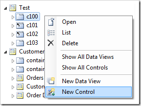 Add New Control to 'c100' container in Project Explorer.
