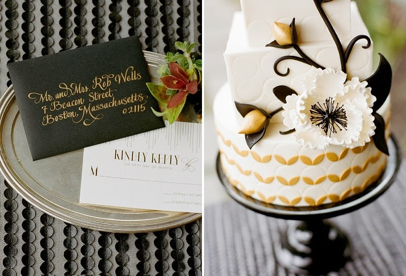 29 Oak and the Owl _ Black and Gold Deco Cake