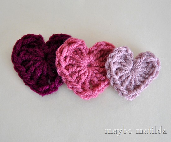 Crochet Hearts for a Valentine's Day Headband