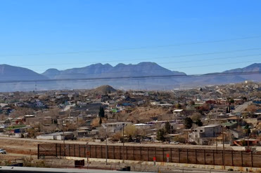 Juarez from the interstate through El Paso notice where the fence just stops