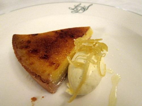 Glazed lemon tart, crème Chantilly