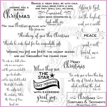 Christmas Scriptures & Sentiments WORDart by Karen