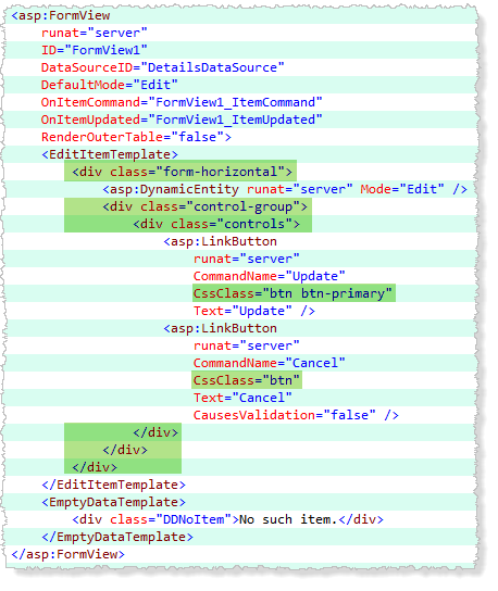 Edit Template mark-up Bootstrappified