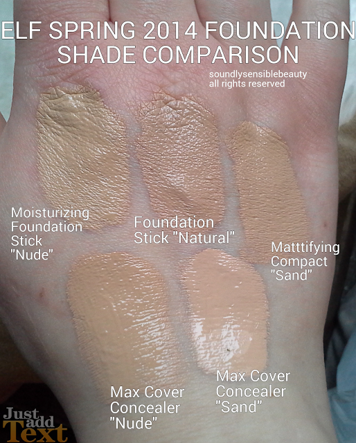 e.l.f. Moisturizing Foundation Stick Review & Swatches of Shades Ivory, Nude, & Natural, Mattifying compact Porcelain & Sand Shades and Maximum coverage Concealer Nude, Sand, Porcelain