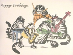 Birthday card..Kliban cats