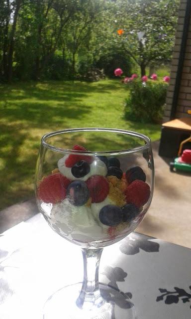 Hallon, blåbär, jordgubbar, digestivekex, grädde, Sösdala, gräsklippare, Hängmatta