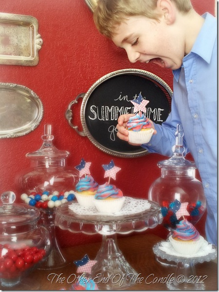 Patriotic Cherry Filled Cupcake & Jacob