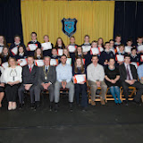 Second year students who received Attendance Awards at the Mulroy College prize giving on Thursday night last wit seated from left Fiona Temple Principal, Karen Patton, Martin Davis, Parmerica, Ian McGarvey, Donegal Mayor, Jason Black, guest Speaker,   Tony McCarry, Parents Committtee, Scatha Farrell, BOM, Peadar Sullivan and Frank Boyce.  Photo Clive Wasson.