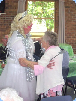 Fiona dancing with a 95 years young Prescott Club member