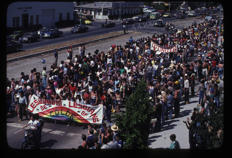 Lesbians of Color at the Los Angeles Christopher Street West pride parade. 1979.
