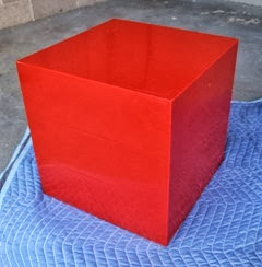 red acrylic cube back